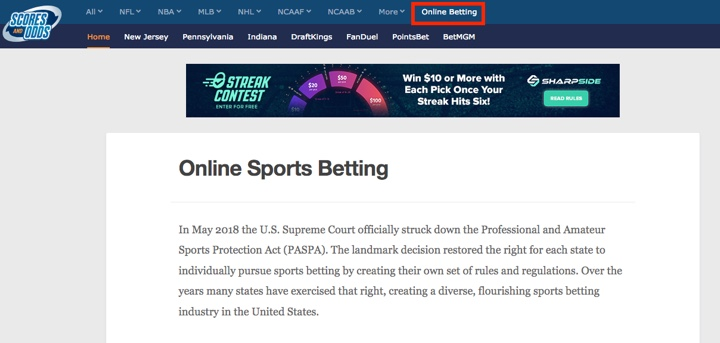 Online Sports Betting Example